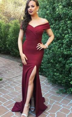 Off the Shoulder Burgundy Satin Long Prom Dress With Slit JTA5411