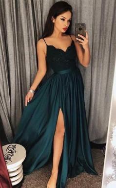 Sexy Dark Green V Neck Lace Bodice Prom Evening Dres Slit Side JTA5481
