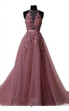 Halter Blush Train Simple Prom Evening Dress With Lace Applique JTA5501