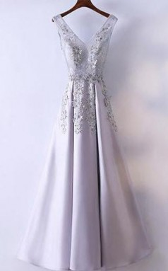 Silver Prom Dress Simple Lace A Line V Neck Cheap Long Prom Dress  JTA5531