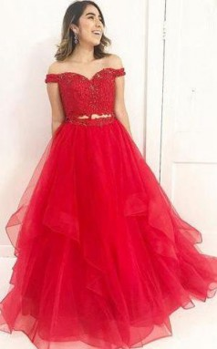 Red Off Shoulder Lace Two Pieces A line Prom Evening Dress JTA5581