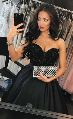 A Line Sweetheart Navy Blue Satin Prom Dress with Beading  JTA5731