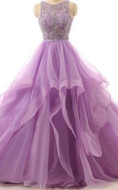 Illusion A Line Organza Cheap Evening Prom Dress With Beading  JTA5741
