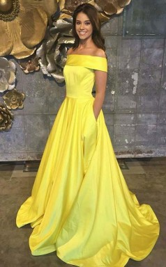 Off The Shoulder Yellow Satin Sleeveless Prom Dress with Pockets JTA5941