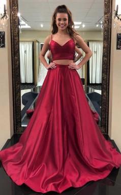 Simple Straps Two Piece Burgundy Long Prom Formal Dress JTA6241