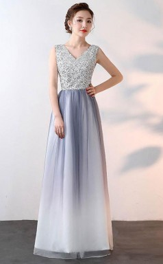 New Style A Line V Neck Tulle Prom Dress With Sequin JTA6281