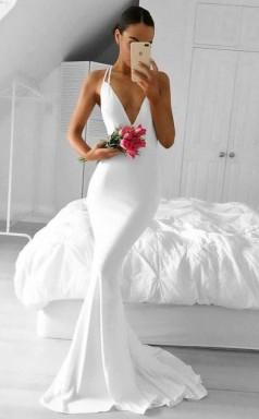 Mermaid Deep V Neck Sweep Train White Satin Open Back Prom Dress JTA6491