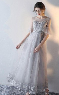 A Line Short Sleeves Gray Tulle Lace Prom Dress Gray Evening Dress JTA6661