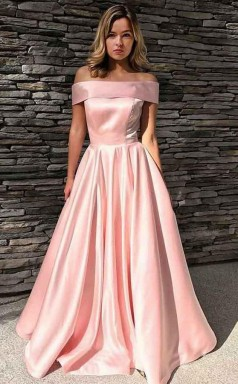 A Line Off-the-Shoulder Sweep Train Pink Satin Prom Dress with Pockets JTA6681