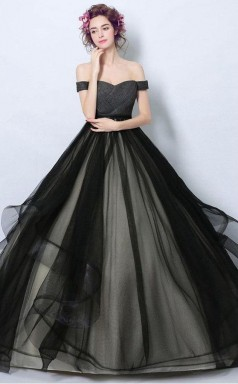 Simple Black Tulle Formal Dress Ball Gown With Off Shoulder Straps  JTA7051
