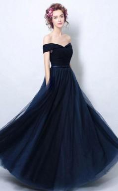 Simple Pleated Dark Navy Blue Formal Dress With Off Shoulder Straps JTA7061