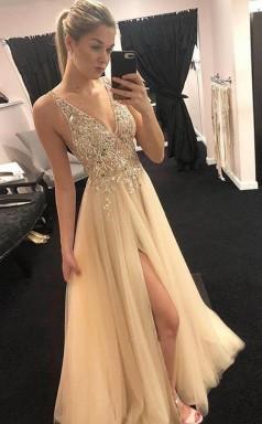 Elegant A Line V Neck Open Back Split Yellow Beaded Long Prom Dress JTA7161