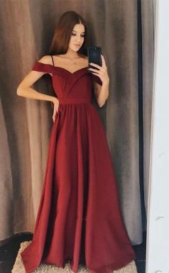 Charming A Line Off the Shoulder Burgundy Satin Long Prom Dress JTA7181
