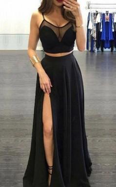Spaghetti Straps Black Two Piece Chiffon Prom Dress With Side Slit  JTA7311