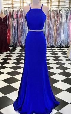 Mermaid Two Piece Halter Cross Back Royal Blue Long Prom Dress JTA7711