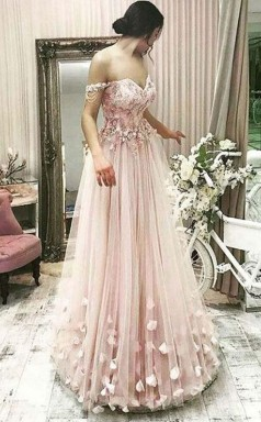 Off the Shoulder Sweetheart Grey Pink Lace and Flower Long Prom Dress JTA7731