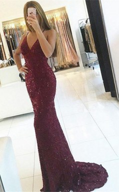 Mermaid Spaghetti Straps Backless Burgundy Lace Prom Dress with Sequins JTA7811