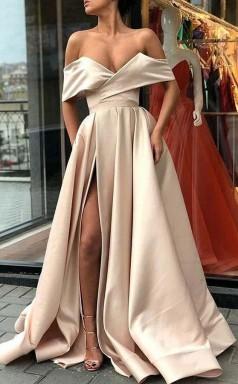 Elegant Off Shoulder Satin Split Sweep Train Prom Formal Dress JTA7831