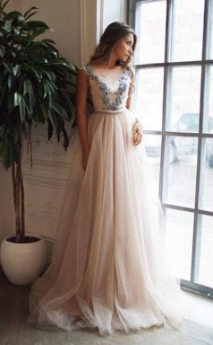 A Line Illusion Neck Pink Sweep Train Backless Prom Dress with Appliques JTA7901