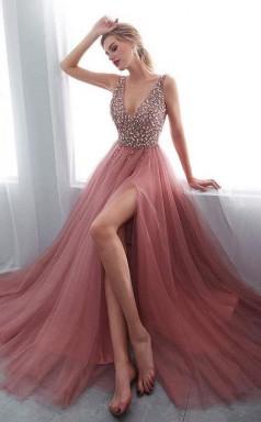 A Line V Neck Sleeveless Sweep Train Prom Formal Dress with Beading JTA7911