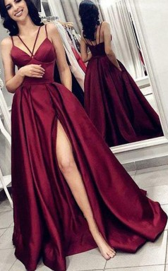 V Neck Spaghetti Straps Burgundy Satin Split Long Prom Dress with Pockets JTA7981