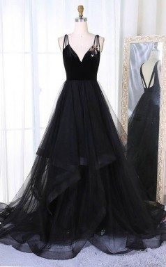 A Line V Neck Sweep Train Pleated Tiered Black Tulle Prom Dress JTA8051