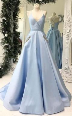 Simple V Neck Sky Blue Satin Long Prom Dress with Pocket JTA8071