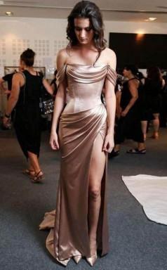 Sheath Off-the-Shoulder Gold Sweep Train Prom Evening Dress with Split JTA8091