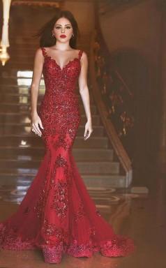 Glamorous Burgundy Mermaid Sequins Prom Dress New Style Appliques Sweep Train JTA8141