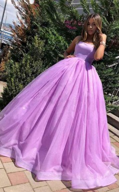 Princess Ball Gown Lilac Straps Long Prom Formal Dress JTA8241