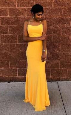 Sexy Mermaid Satin Mustard Yellow Criss Cross Long Prom Evening Dress JTA8341