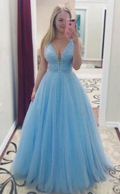 Sky Blue V Neck Beaded Long Prom Dress Pearls Tulle Cute Prom Dress JTA8361