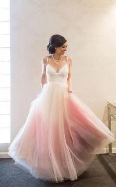 Spaghetti Straps A Line Tulle Floor-length Long Prom Formal Dress JTA8371