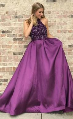 High Neck Purple Long Prom Dress Beaded Elegant Junior Prom Dress JTA8391