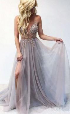Spaghetti Straps Sexy V Neck Prom Dress Beaded Long Formal Dress  JTA8441