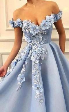 Sky Blue Off the Shoulder Flower Appliques Long Beautiful Prom Dress  JTA8451