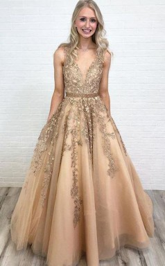 A Line V Neck Open Back Gold Lace Long Prom Dress with Beading JTA8491