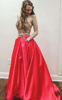 Sparkly Two Piece Beaded Satin Red High Neck Long Prom Dress  JTA8661