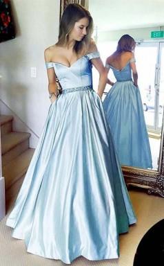 Simple A Line Off the shoulder Blue Long Prom Dress with Pocket  JTA8941