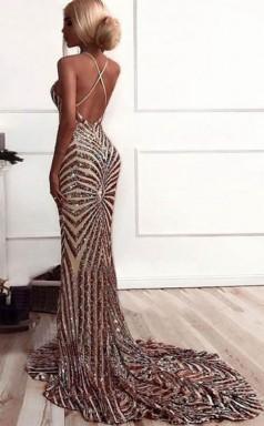 Mermaid V Neck Sweep Train Backless Rose Gold Sequined Prom Dress JTA9091