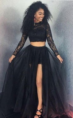 Two Pieces Black A Line Long Sleeve O-Neck Long Prom Dress  JTA9121