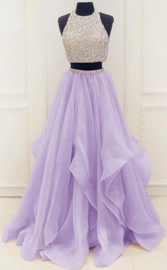 Two Piece High Neck Organza Lilac Prom Evening Dress With Beading  JTA9301