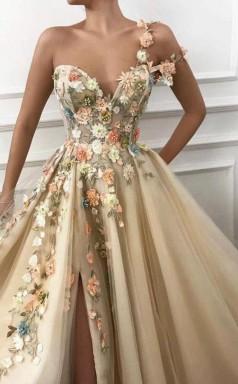 One Shoulder Sweetheart Tulle 3D FLower Prom Dress Formal Dress With Split  JTA9471