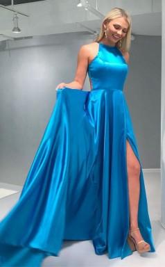 A Line Crew Open Back Sweep Train Blue Prom Dress with Split JTA9531