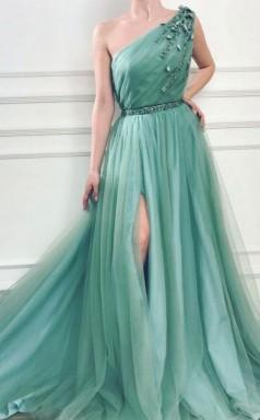 A Line One Shoulder Jungle Tulle Split Prom Formal Dress With Beading  JTA9551
