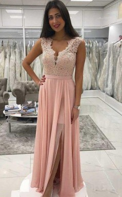 Long Chiffon Lace Beaded Prom Dress Pink V Neck Formal Dress with Split JTA9581