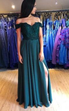 A Line Green Satin Off the Shoulder Appliques Prom Dress With Side Split   JTA9661