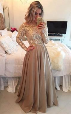 A Line Sheer Neckline  Prom Dress Floor Length Long Sleeves Evening Dress  JTA9721