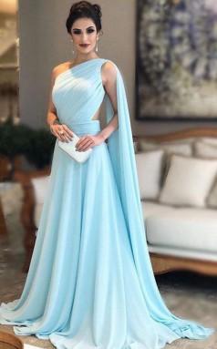 Light Blue One Shoulder Chiffon Pleats Sheer Illusion Back Prom Gown JTA9771