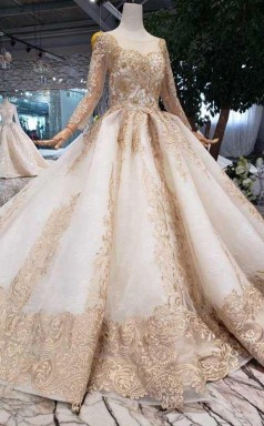 New Style Long Sleeves Tulle Ball Gown Prom Dress With Lace Applique   JTA9831
